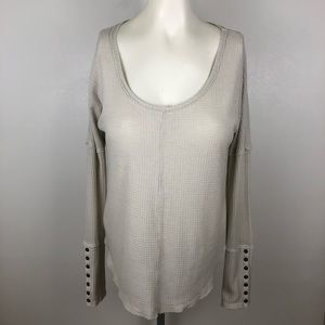 Lucky Brand Thermal Waffle Knit Button Cuff Blouse